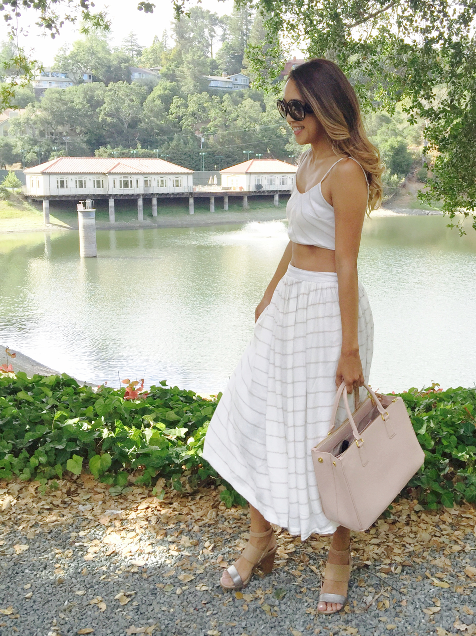 Beyond Basic Blog What Not To Wear - Love Culture crop top and midi skirt, Prada bag, Dolce Vita shoes