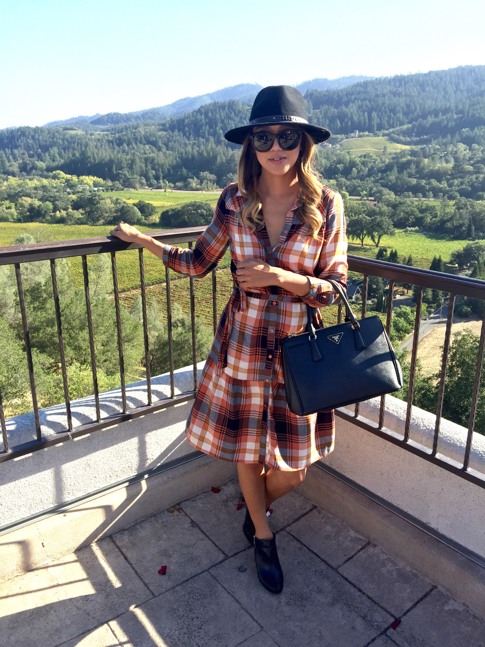 Beyond Basic Blog Sterling Vineyards ASOS Villa Plaid Midi Dress Prada Saffiano Tote BCBG Booties