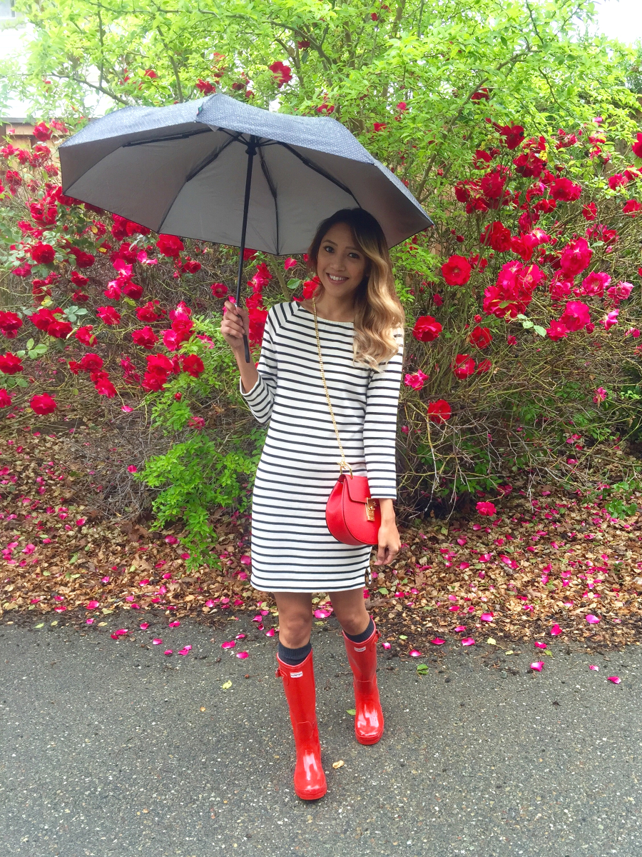 Beyond Basic Blog April Showers Gap Sailor Stripe Dress Red Hunter Boots