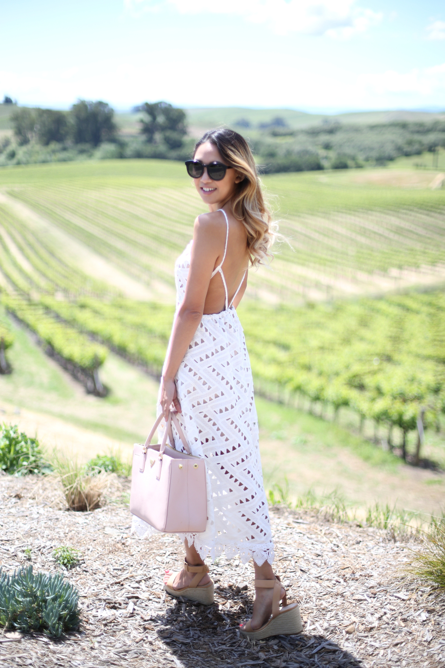 Beyond Basic Blog What to Wear Wine Tasting Line Dot Geo Lace Dress