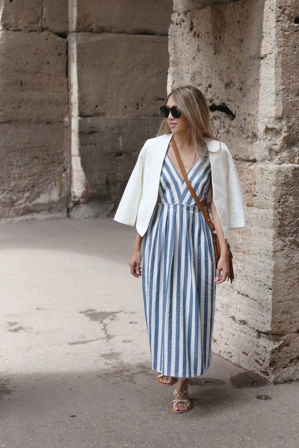 Beyond Basic Blog When In Rome Colosseum Zara Stripe Denim Dress Banana Republic Blazer