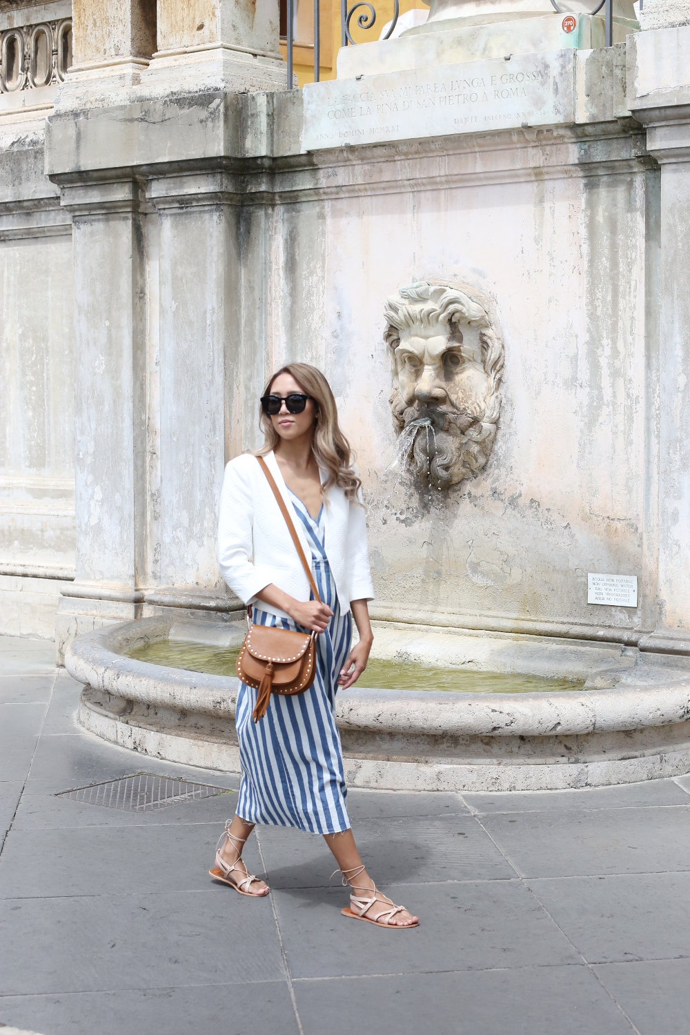 Beyond Basic Blog When In Rome Vatican Museum Zara Stripe Denim Dress Banana Republic Blazer