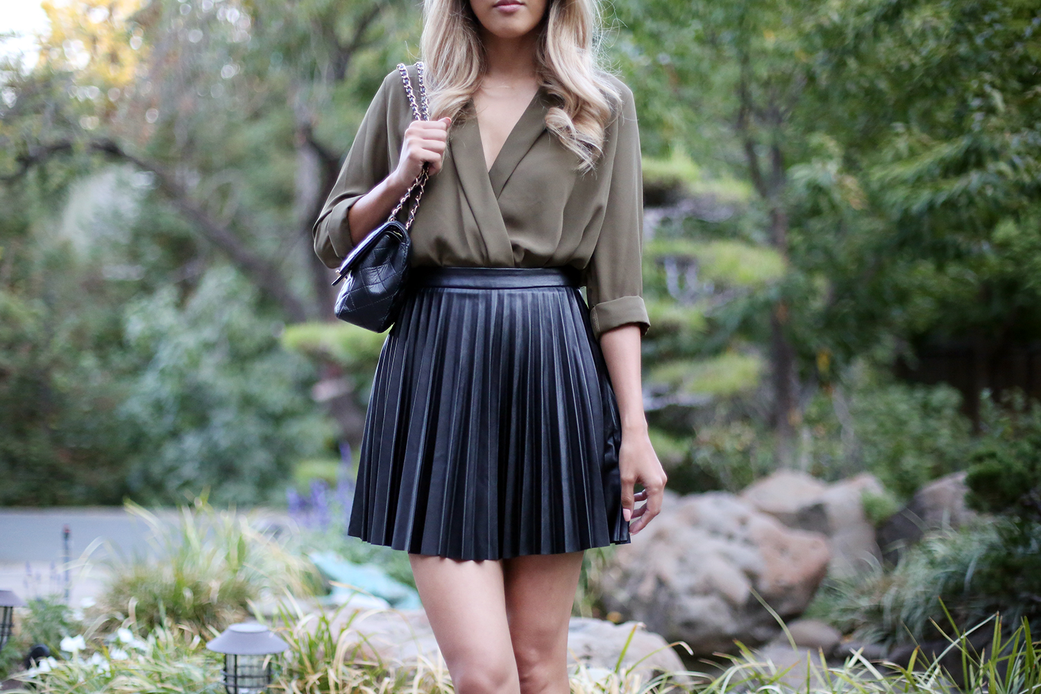 Beyond Basic Blog Pleated Leather Mini Skirt Topshop Bodysuit Chanel