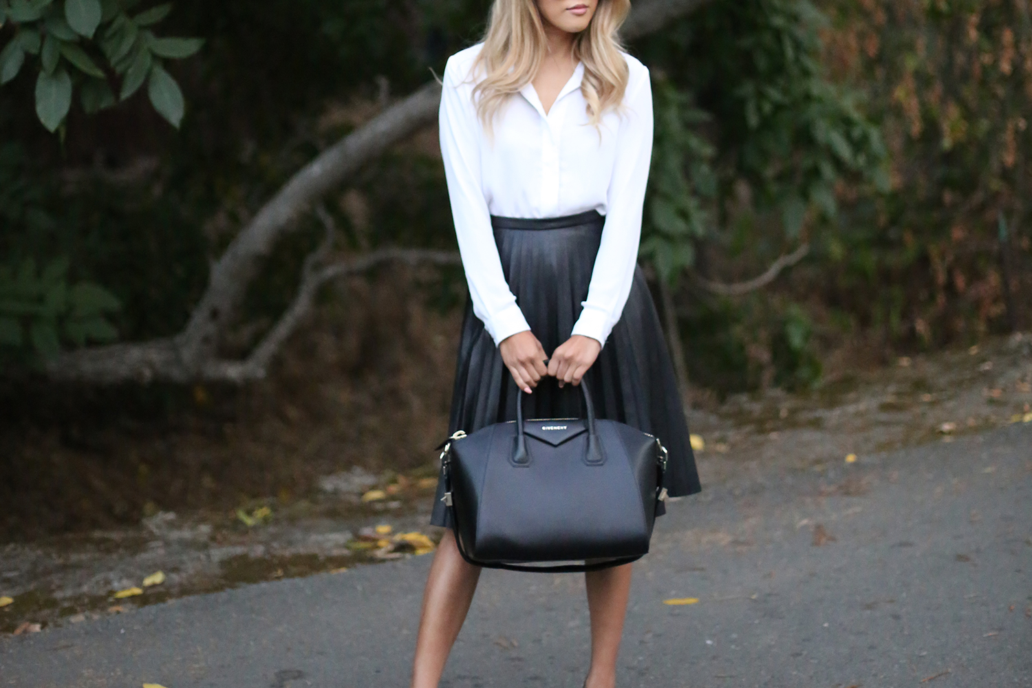 Beyond Basic Blog J Crew Pleated Leather Midi Skirt Givenchy Antigona Christian Louboutin