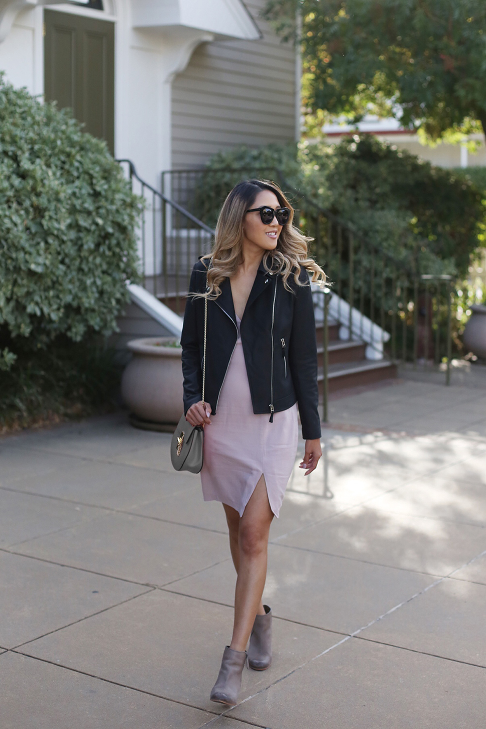 Beyond Basic Blog Light and Dark ASTR V Neck Dress BP Booties Dezzal Leather Jacket