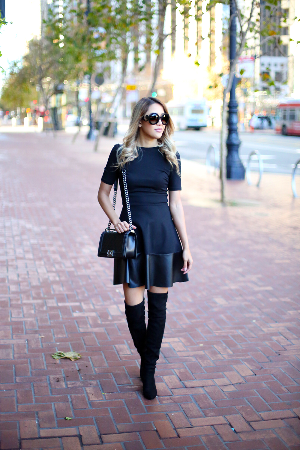 Beyond Basic Blog Little Black Dress Aqua Faux Leather Trim Dress Chanel Le Boy Bag LBD