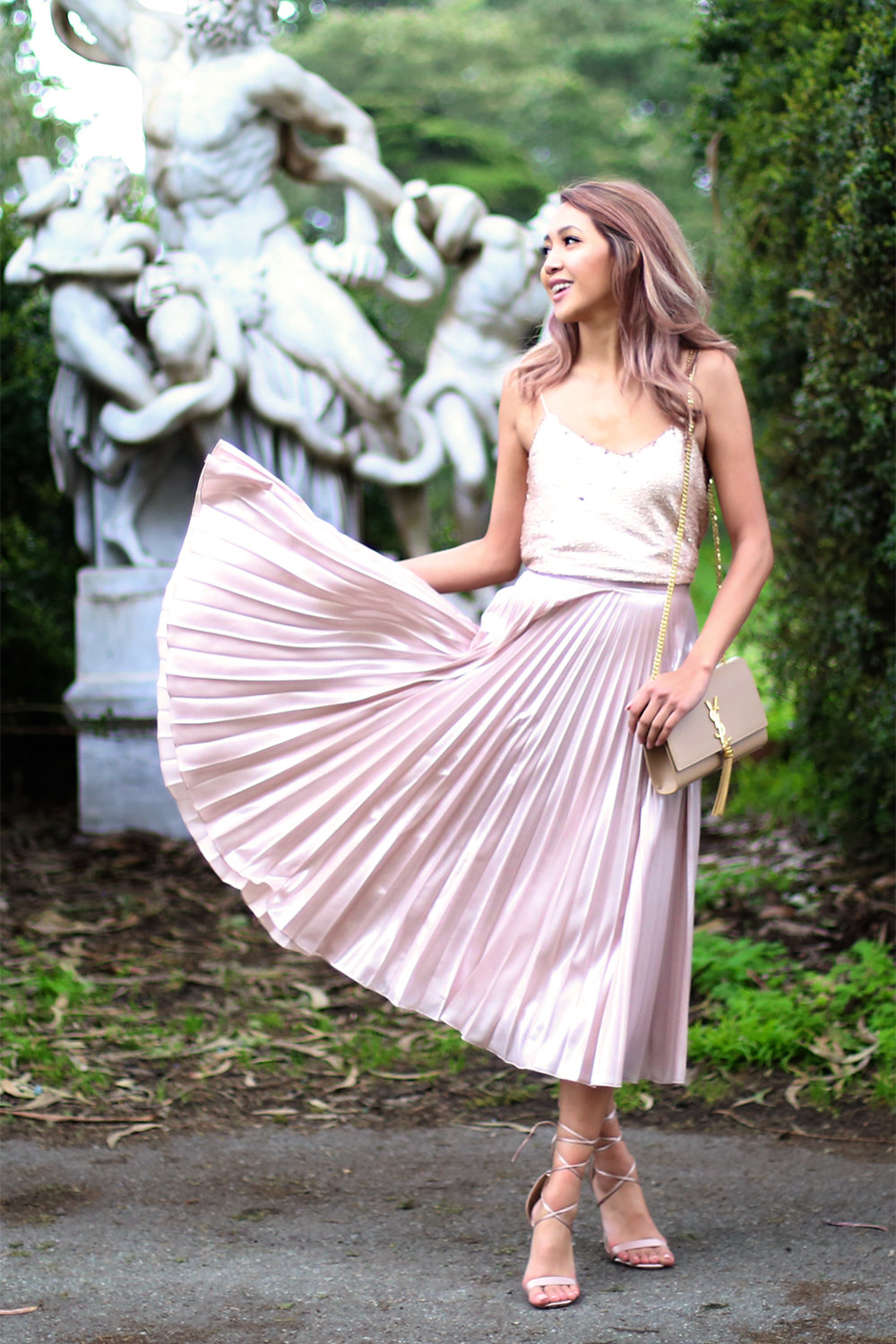 Beyond Basic Blog Pink Pleated Metallic Midi Skirt Sequin Cami