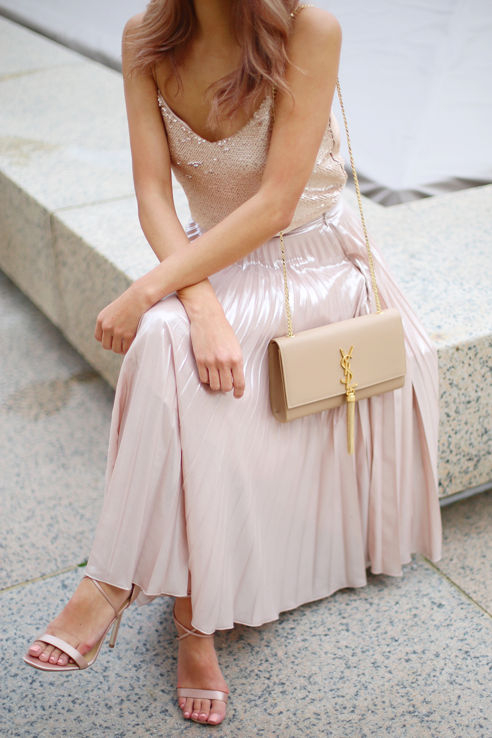 Beyond Basic Blog Pink Pleated Metallic Midi Skirt Sequin Cami Nude YSL Kate Bag