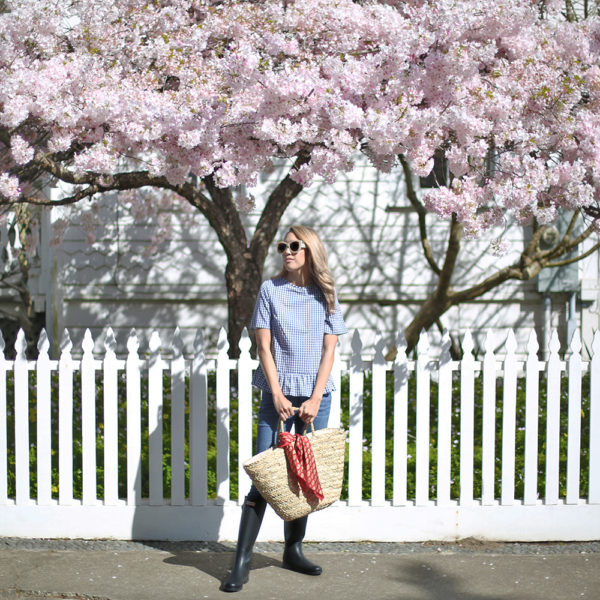 Beyond Basic Blog Mendocino Gingham Peplum Top Hunter Boots Cherry Blossoms