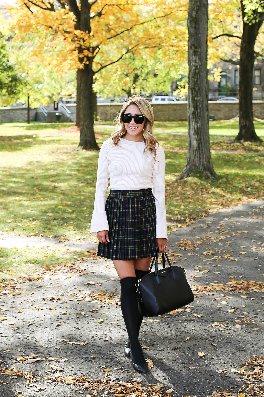 Beyond Basic Blog Quebec City Plaid Skirt and Over the Knee Socks